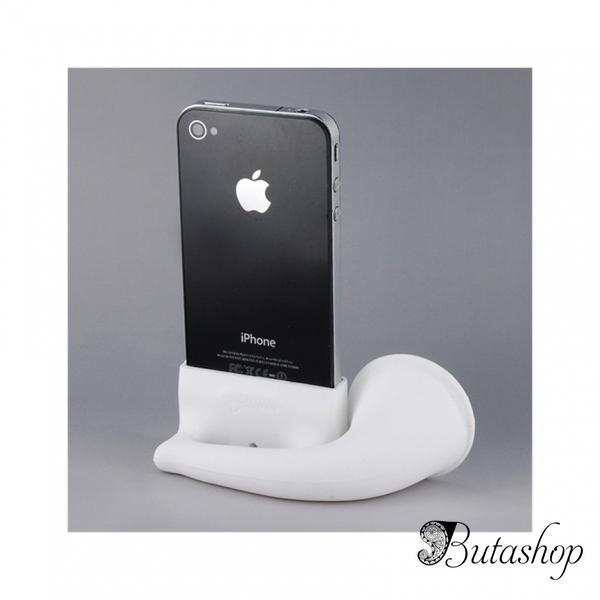 РАСПРОДАЖА! Cute Horn Stand Speaker Amplifier for Apple iPhone 4G (White) - butashop.com
